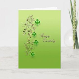 Gold Filigree With Shamrocks Birthday Card