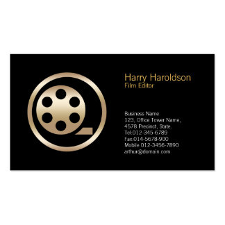 Gold Film Reel Icon Film Editor Business Card