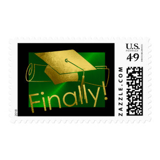Gold Finally Graduation Cap Diploma Green Postage