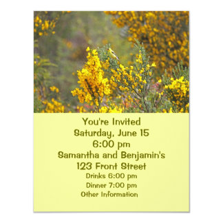 """Gold Finch and Yellow Flowers 4.25"""" X 5.5"""" Invitation Card"""