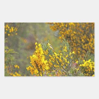 Gold Finch and Yellow Flowers Rectangular Sticker