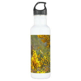 Gold Finch and Yellow Flowers Stainless Steel Water Bottle