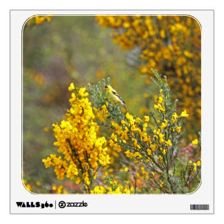 Gold Finch and Yellow Flowers Wall Decal