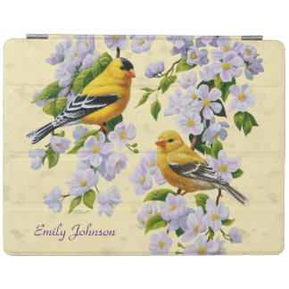 Gold Finches & Apple Blossoms Yellow iPad Smart Cover