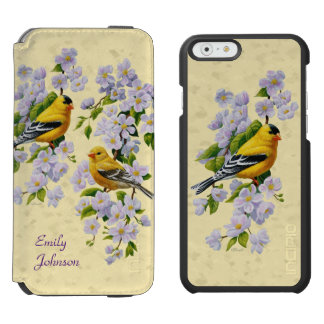 Gold Finches & Apple Blossoms Yellow iPhone 6/6s Wallet Case