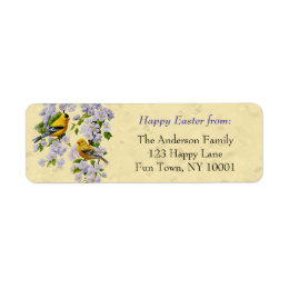 Gold Finches & Apple Blossoms Yellow Label