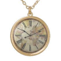 Gold finish clock face gold finish necklace
