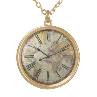 Gold finish clock face round pendant necklace