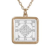 Gold Finish Enochian Lamen of John Dee Chain Gold Plated Necklace