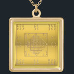 """Gold Finish Enochian Lamen of John Dee Chain Gold Plated Necklace<br><div class=""""desc"""">The pendant on this gold finish chain bears the lamen from John Dee&#39;s diaries,  which Dee was instructed was to be worn when communicating with the spirits of the Heptarchia and Watchtowers. Note that this pendant&#39;s image is not engraved or embossed,  but printed and non-reflective.</div>"""