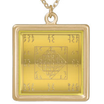 Gold Finish Enochian Lamen of John Dee Chain Gold Plated Necklace