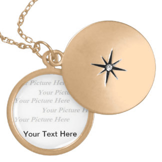 Gold Finish Image and Text Necklace