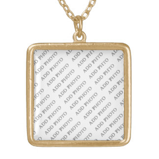 Gold Finish Med Square Necklace Create Your Own
