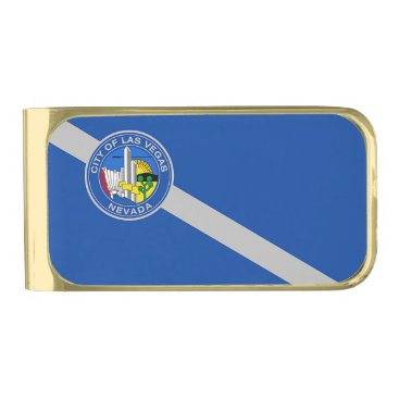 Gold finish Money Clip with flag of Las Vegas
