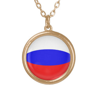 "Gold finish Necklace + 18"" chain Russia flag"