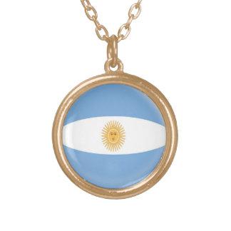 Gold finish Necklace Argentina flag