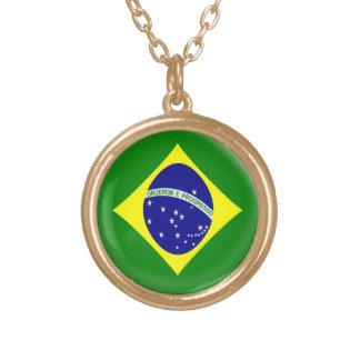 Gold finish Necklace Brasil Brazilian flag