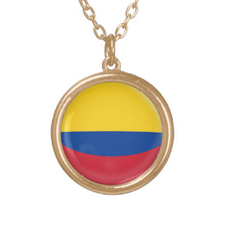 Gold finish Necklace Colombia Colombian flag