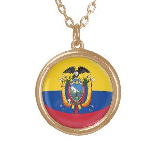 Gold finish Necklace Ecuador flag