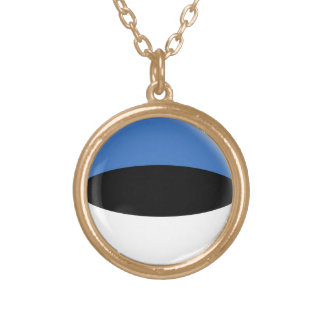 Gold finish Necklace Estonia Estaonian flag