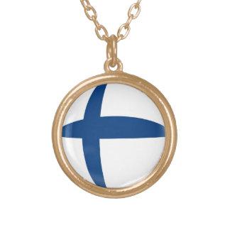 Gold finish Necklace Finland Finish flag