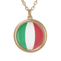 Gold finish Necklace Italy Italian flag