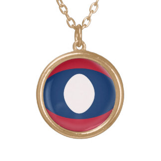Gold finish Necklace Laos flag