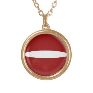 Gold finish Necklace Latvia flag