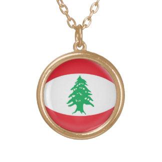 Gold finish Necklace Lebanon flag