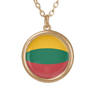 Gold finish Necklace Lithuania Lithuanian flag
