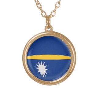 Gold finish Necklace Nauru flag