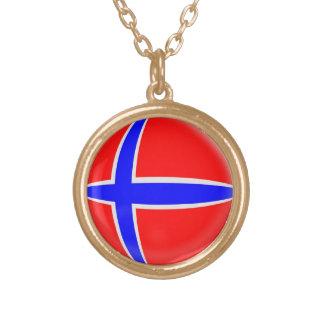 Gold finish Necklace Norway flag