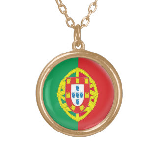 Gold finish Necklace Portugal flag
