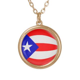 Gold finish Necklace Puerto Rico flag