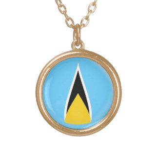 Gold finish Necklace Saint Lucia flag