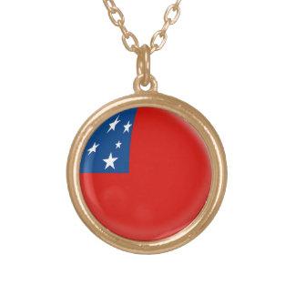 Gold finish Necklace Samoa flag