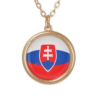 Gold finish Necklace Slovakia Slovakian flag