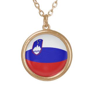 Gold finish Necklace Slovenia Slovenian flag