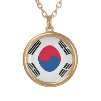 Gold finish Necklace South Korea flag