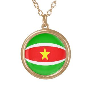 Gold finish Necklace Suriname flag