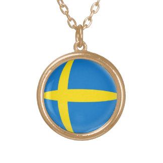 Gold finish Necklace Sweden Swedish flag