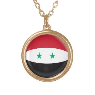 Gold finish Necklace Syria Syrian flag