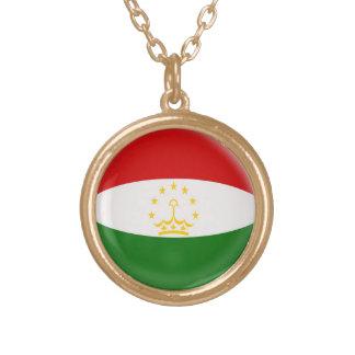 Gold finish Necklace Tajikistan flag