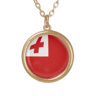 Gold finish Necklace Tonga flag