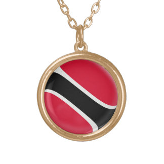 Gold finish Necklace Trinidad & Tobago flag