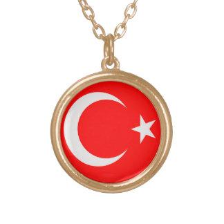 Gold finish Necklace Turkiey Turkish flag