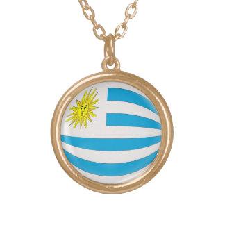Gold finish Necklace Uruguay flag