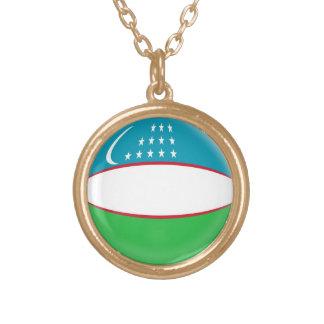 Gold finish Necklace Uzbekistan flag