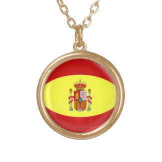 Gold finish Necklace with chain Spain Spanish flag