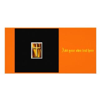 Gold Fire Cross Card